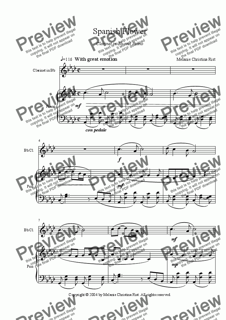 page one of Spanish Flower (clarinet & piano, by Melanie C. Rist)ASALTTEXT