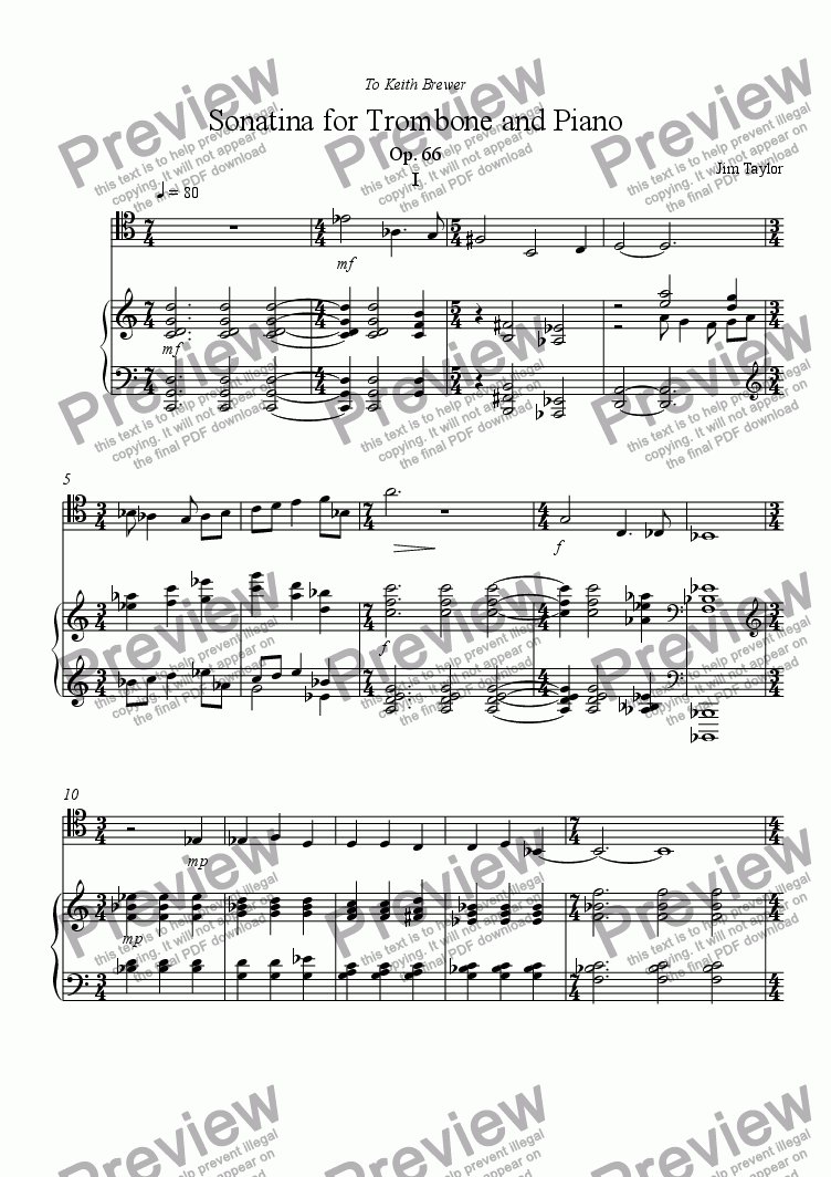 page one of Sonatina for Trombone and Piano