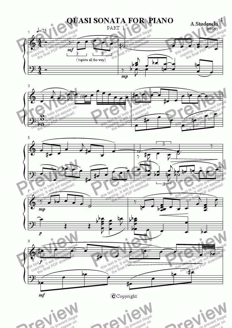 page one of Quasi Sonata For PianoASALTTEXT