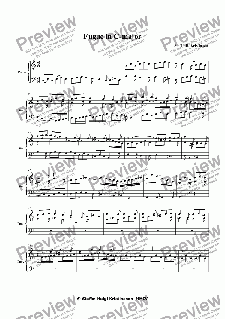 page one of Fugue in C-major