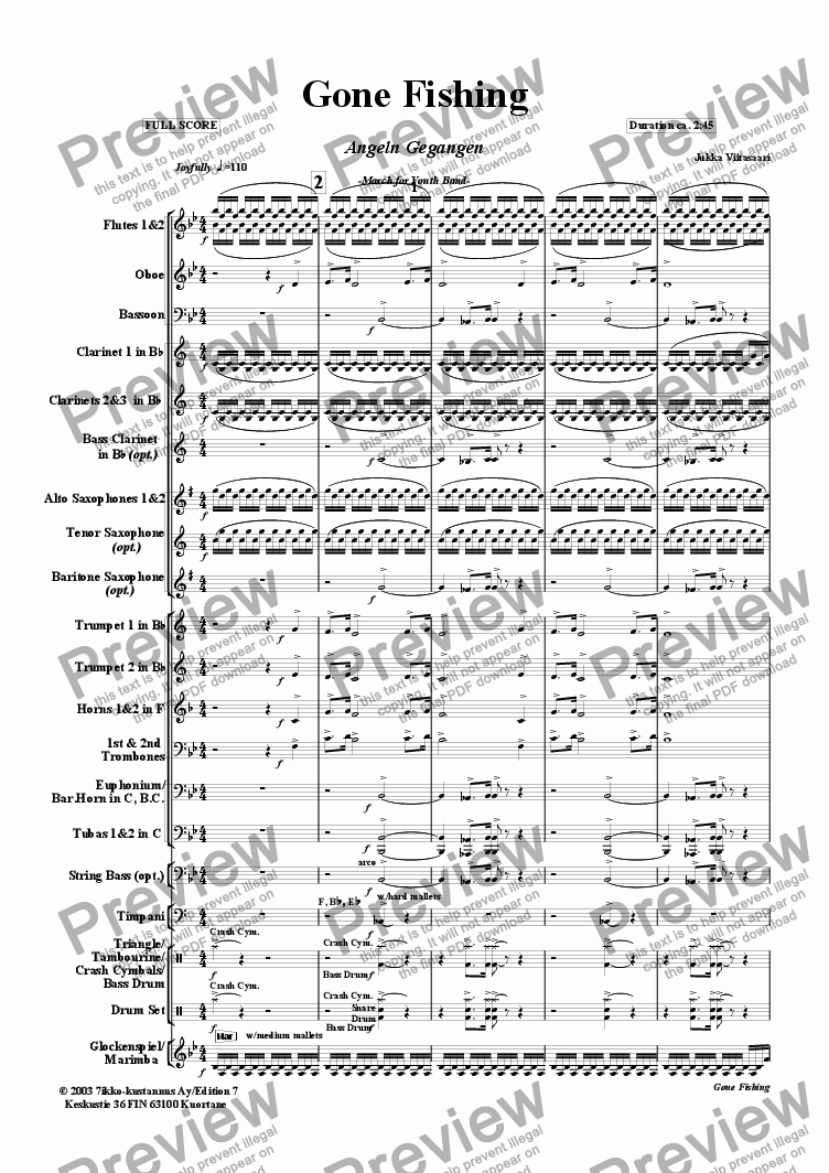 page one of Gone Fishing (youth band)
