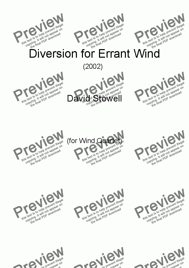 page one of Diversion for Errant Wind