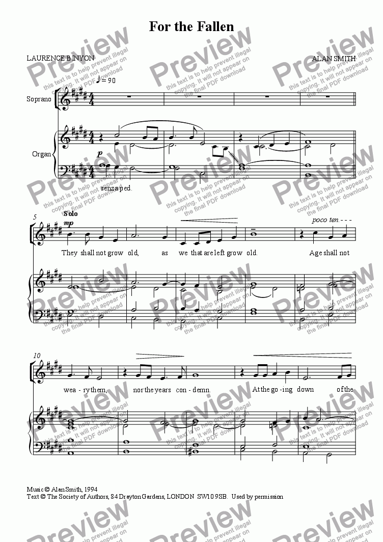 page one of For the Fallen (SATB version)
