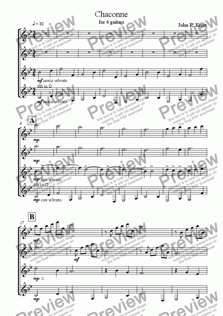 page one of Chaconne For Four Guitars