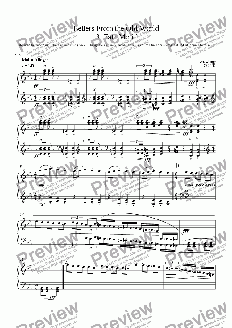 page one of LETTERS 3. When Fate Comes Knocking (Solo Piano)