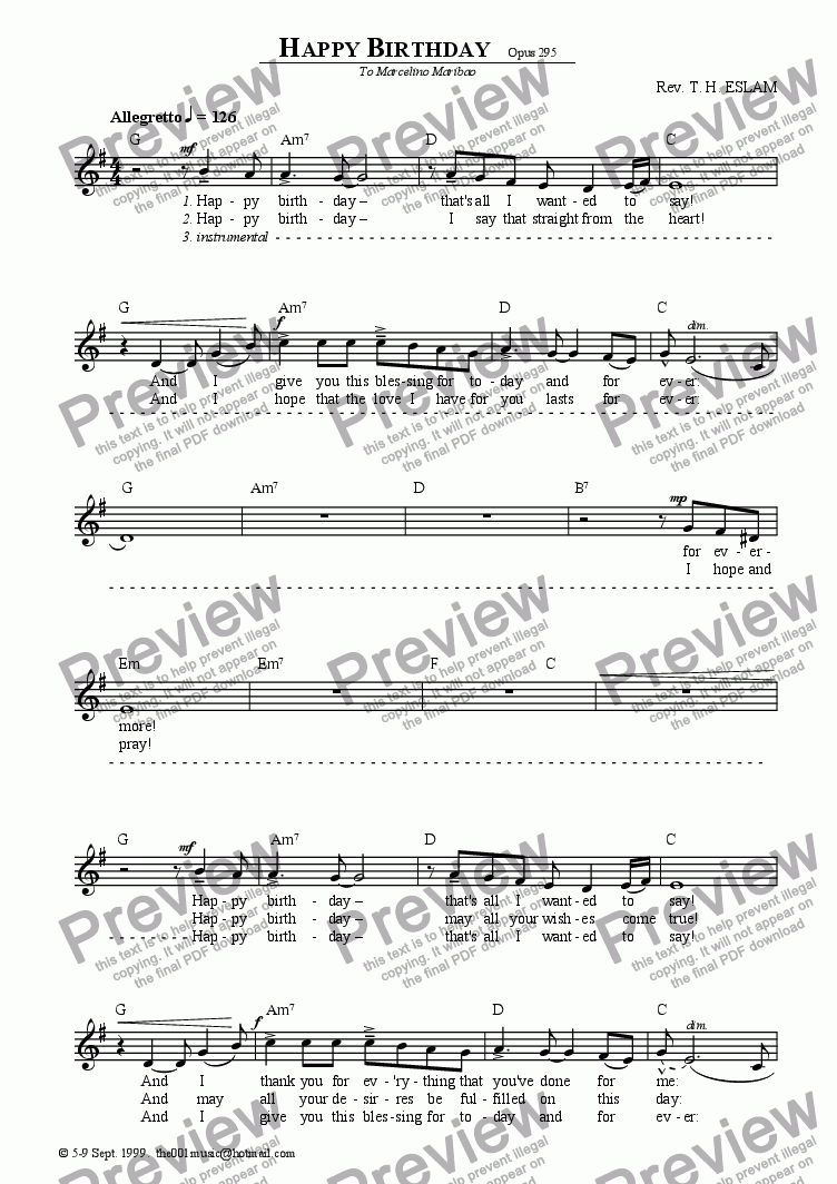 Happy Birthday for Solo instrument (Voice) by Reverend T H  Eslam - Sheet  Music PDF file to download