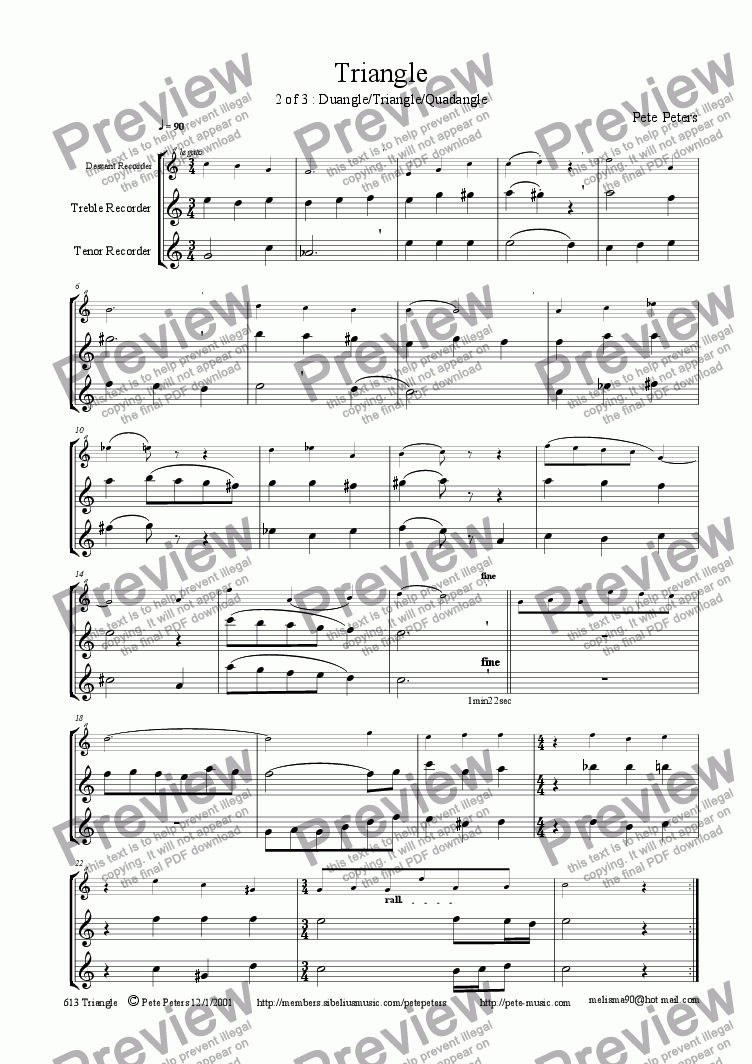 page one of Triangle TRIO (2 of 3) (Duangle/Quadangle) [rec/flute trio]