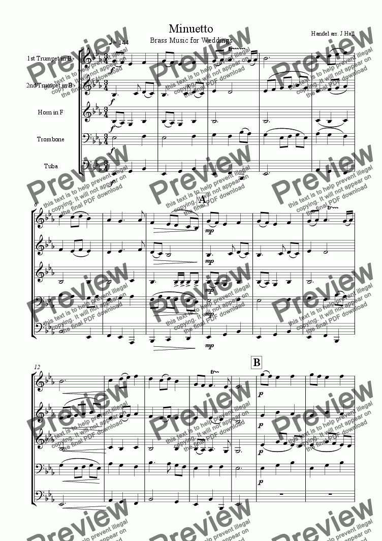 page one of Minuet - Brass Music for weddings