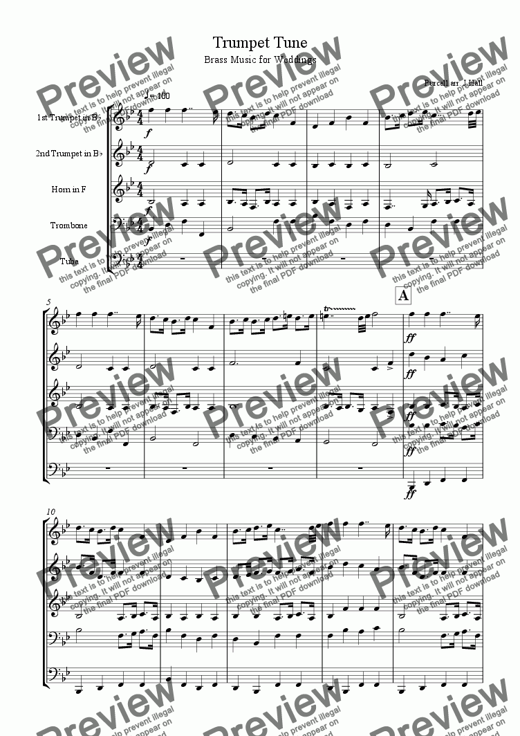 page one of Purcell Trumpet Tune - Brass music for Weddings