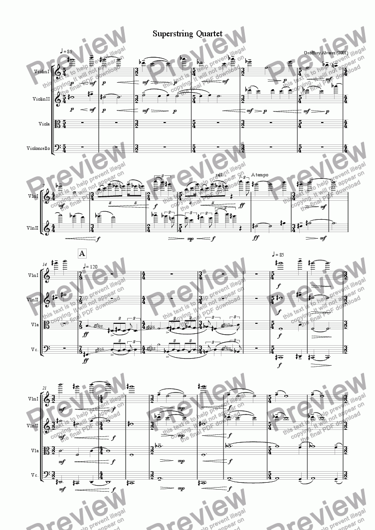 page one of Superstring Quartet