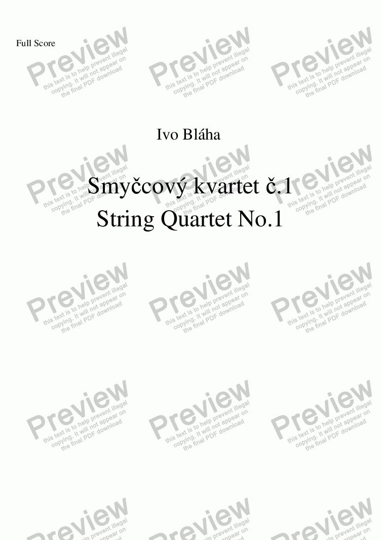 page one of STRING QUARTET No.1