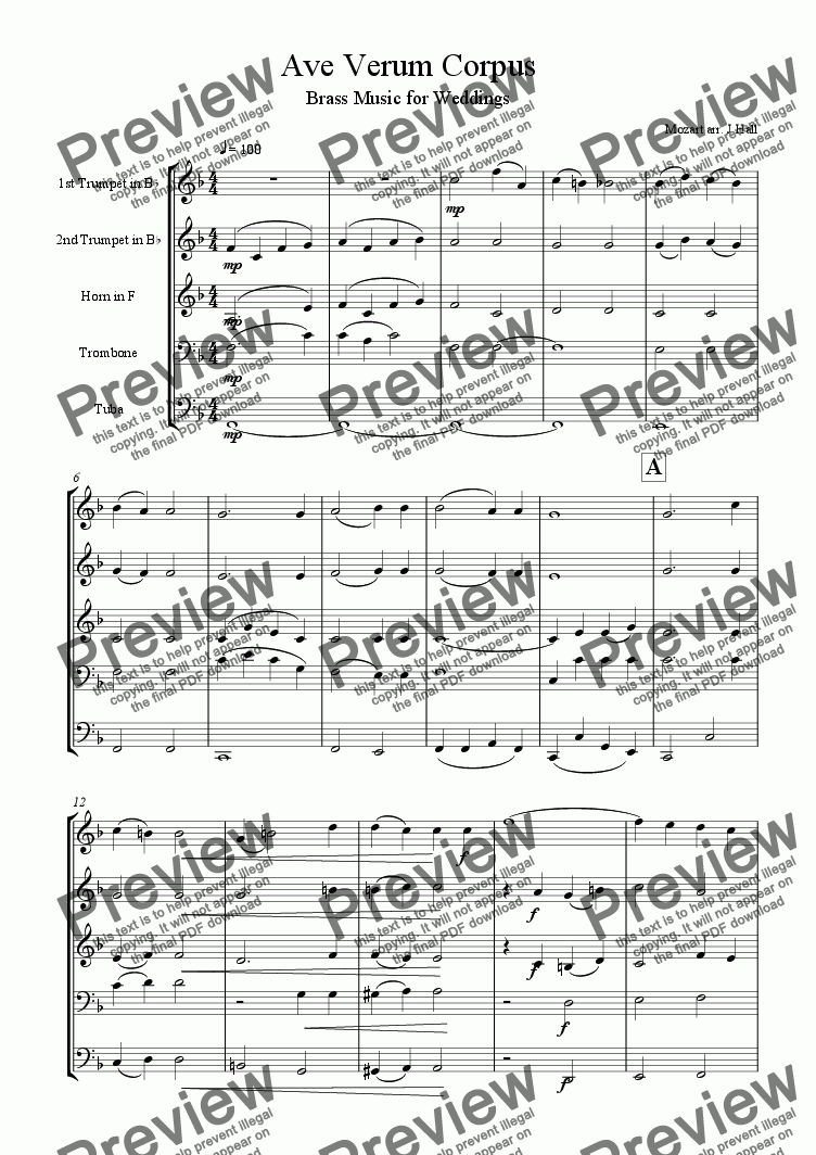 page one of Ave Verum Corpus - Brass Music for Weddings