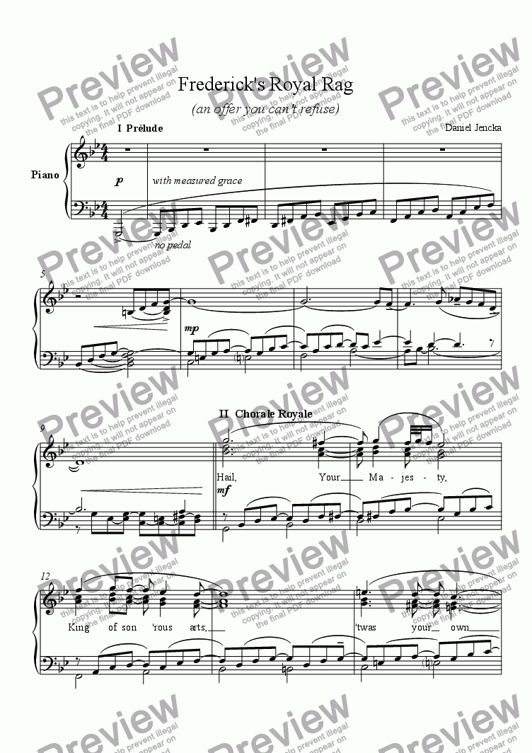 page one of FREDERICK'S ROYAL RAG for Piano SoloASALTTEXT
