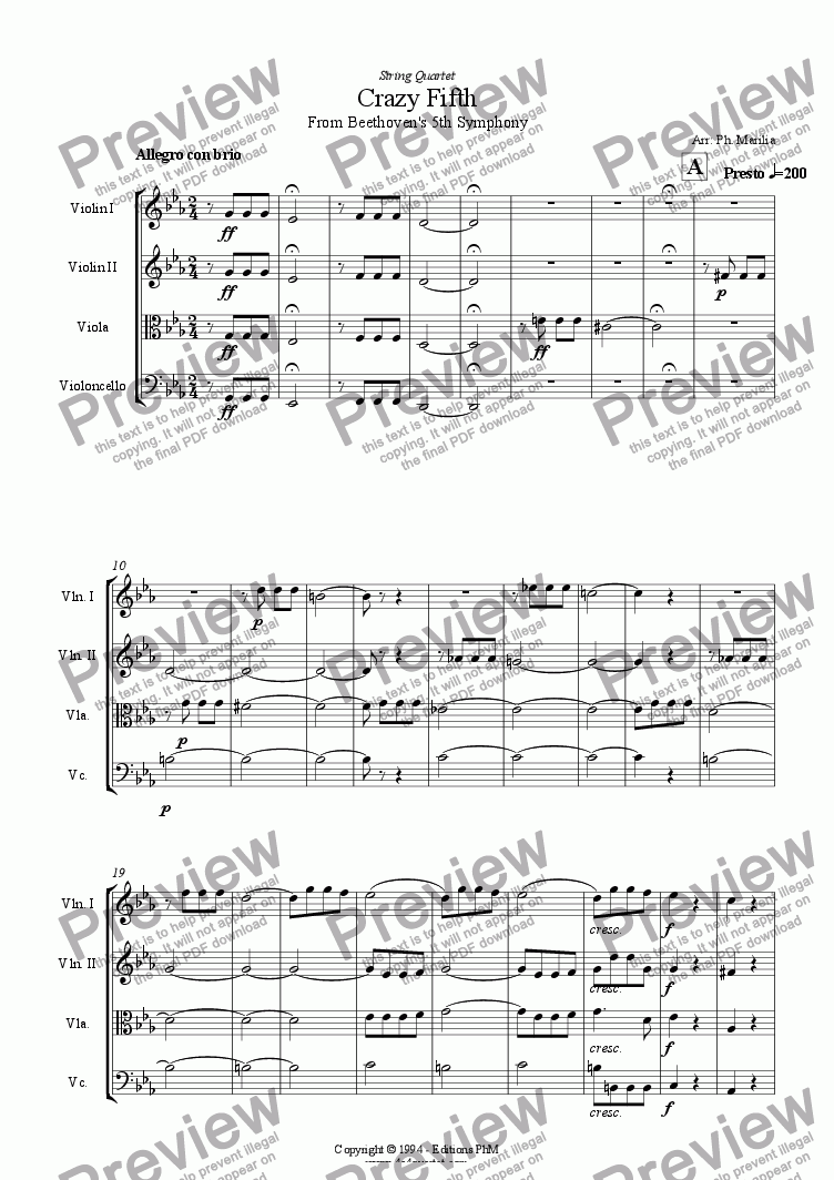 page one of Beethoven - Crazy Firth (String Quartet)