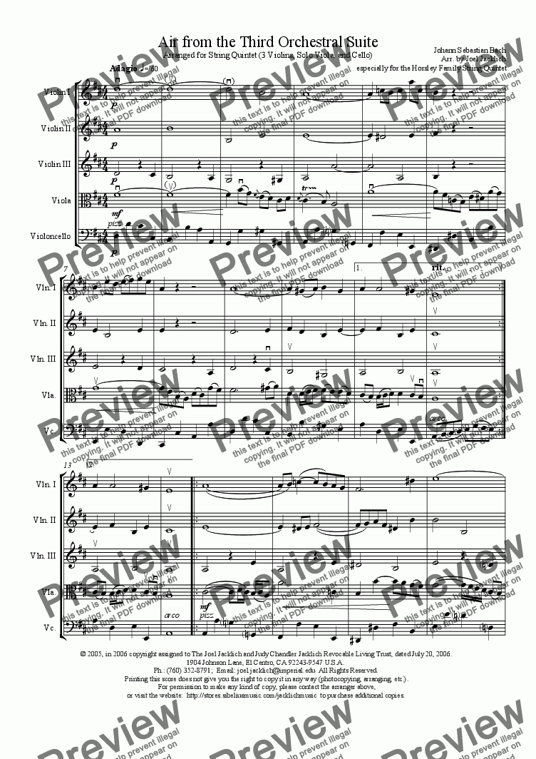 page one of Air from the Third Orchestral Suite (arr for string quintet of 3 violins, viola solo, and cello)