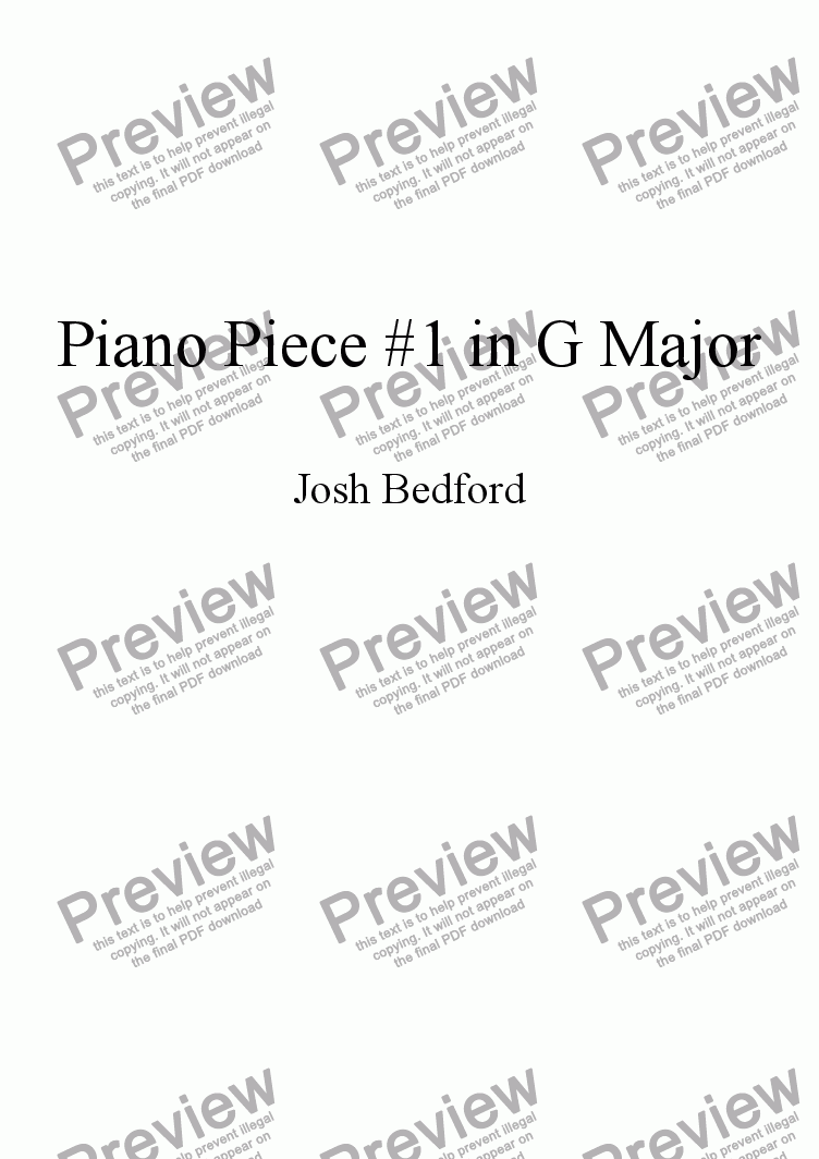 page one of Piano Piece #1 in G Major