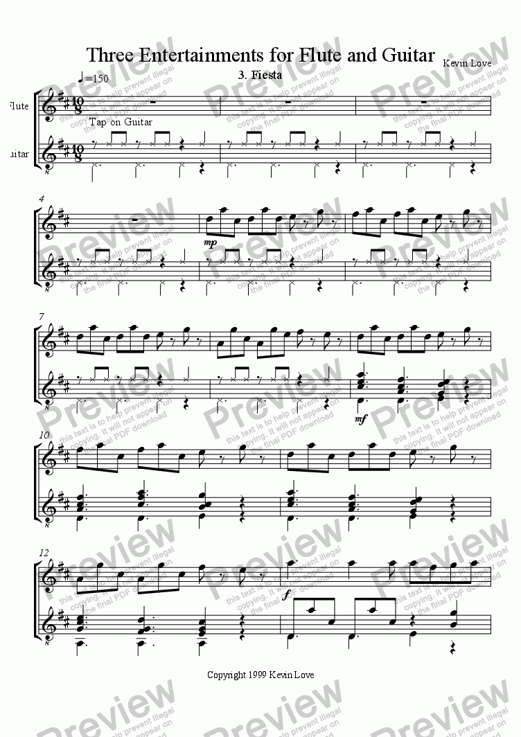 page one of 3 Entertainments for Flute and Guitar - Fiesta