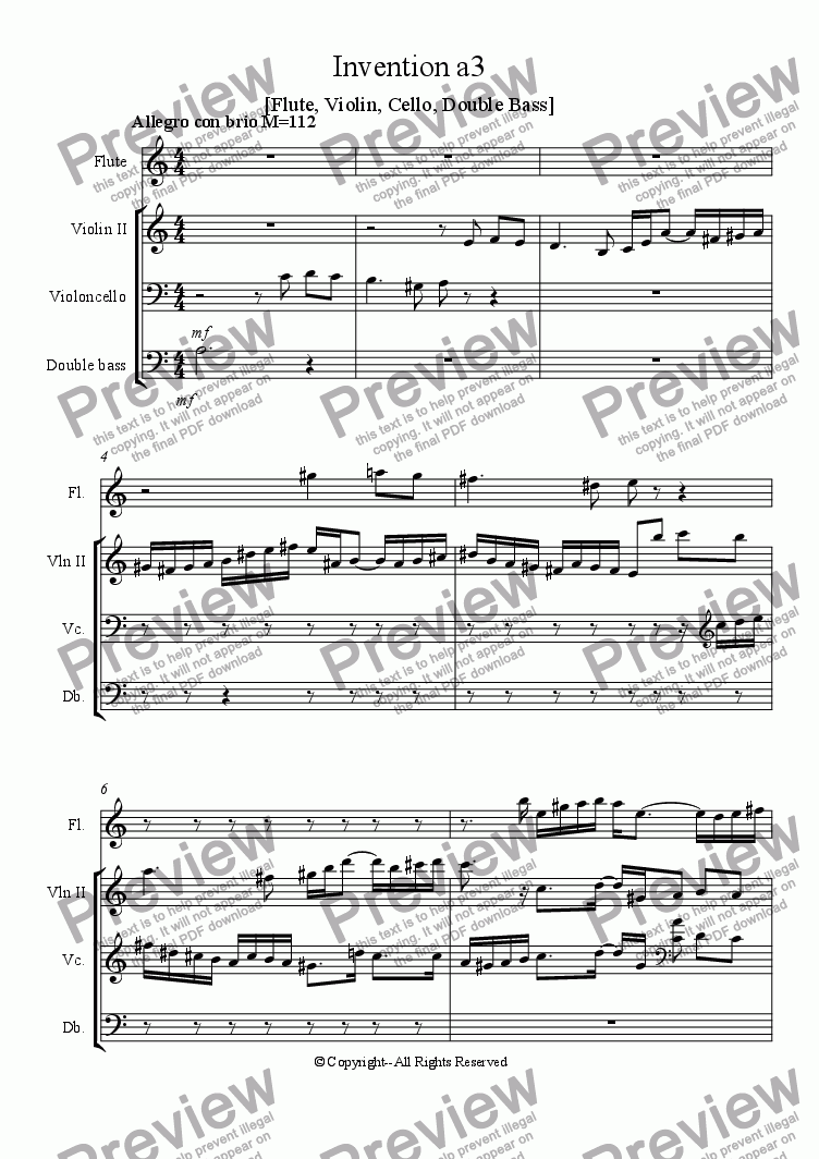 page one of Invention a3 [Flute, Violin, Cello, Double Bass]ASALTTEXT