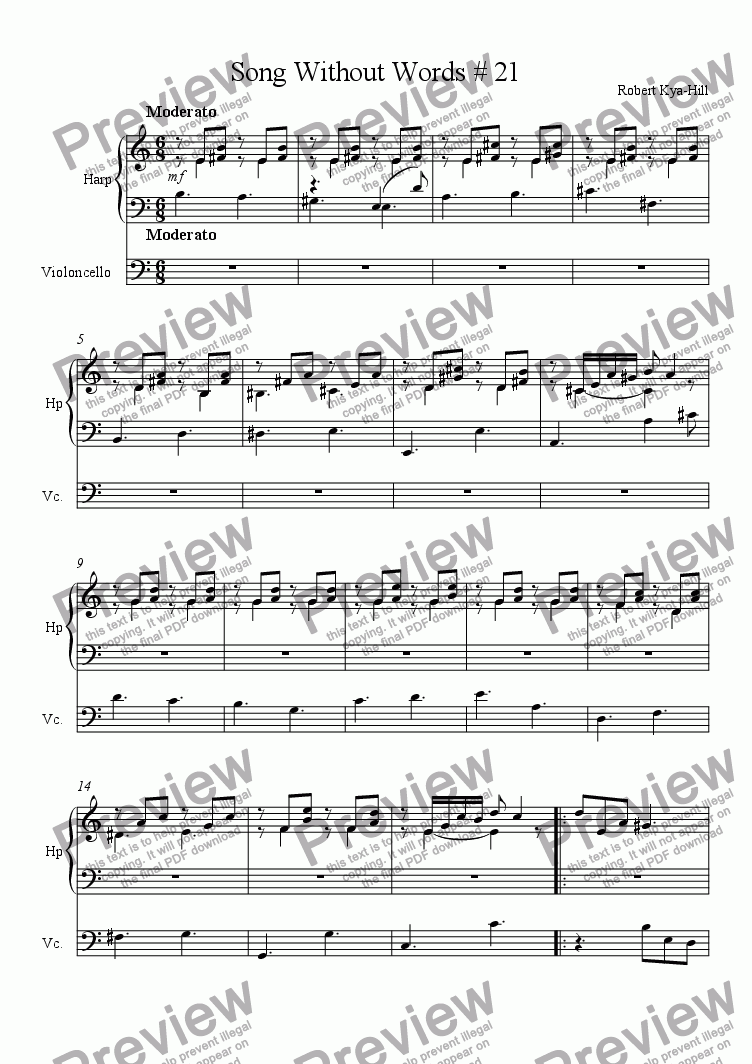 page one of Song Without Words # 21 [Harp, Cello]
