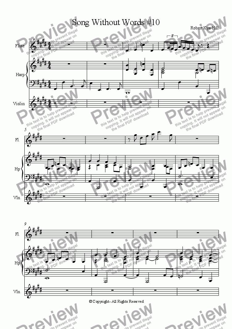 page one of Song Without  Words # 10 [Flute, Harp, Violin]ASALTTEXT