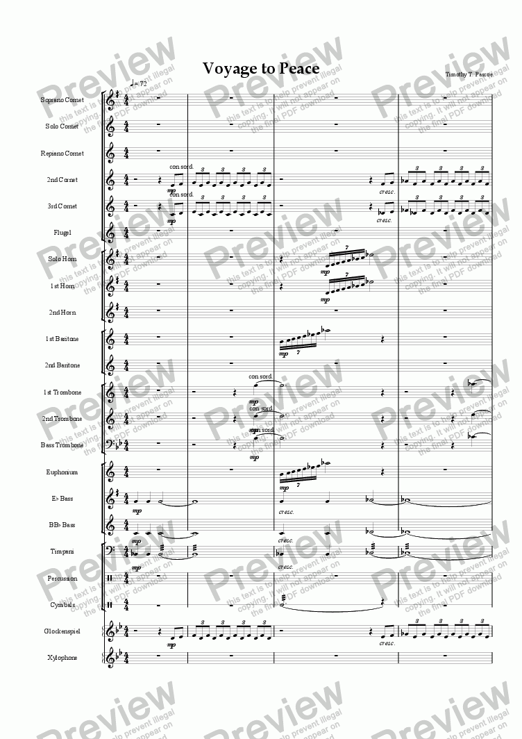 page one of Voyage to Peace (Brass Band)ASALTTEXT