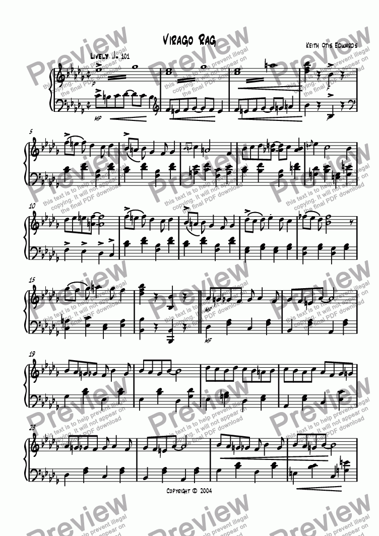 page one of Easy Ragtime Pieces - 2. Virago RagASALTTEXT