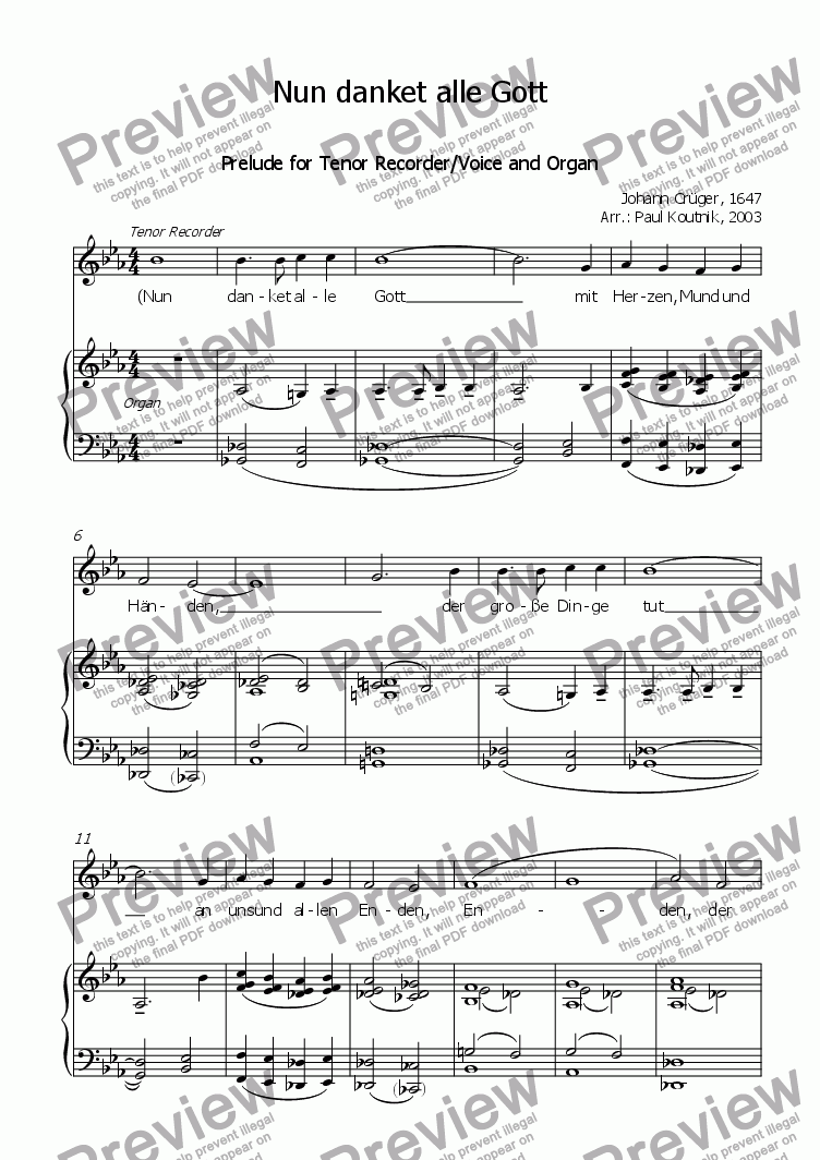 page one of Prelude on Nun danket alle Gott for Tenor Recorder/Voice and Organ
