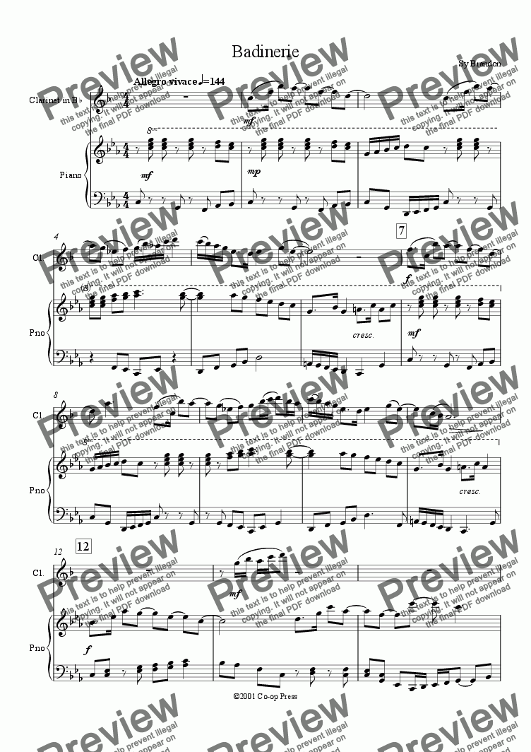 page one of Badinerie for Clarinet and Piano