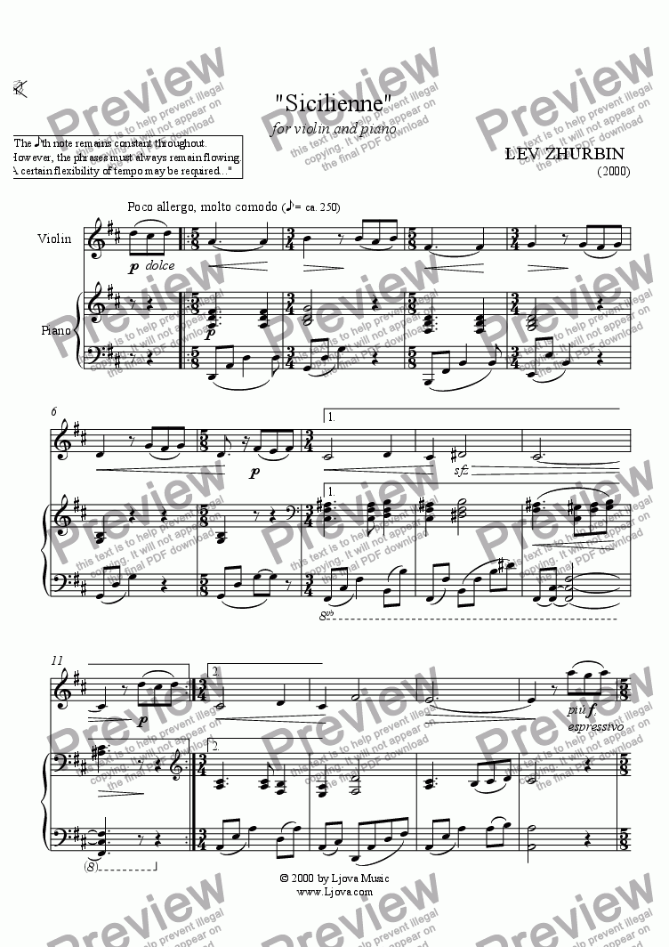 page one of Sicilienne for violin and piano