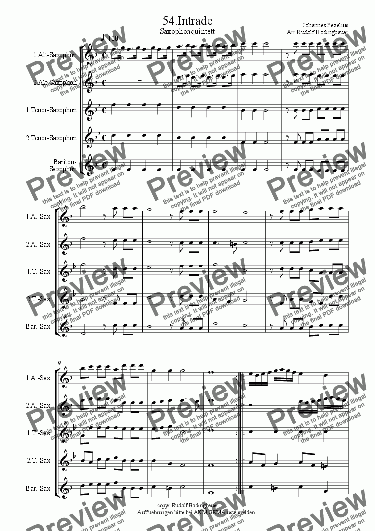 page one of 54.Intrade  Saxophonquintett