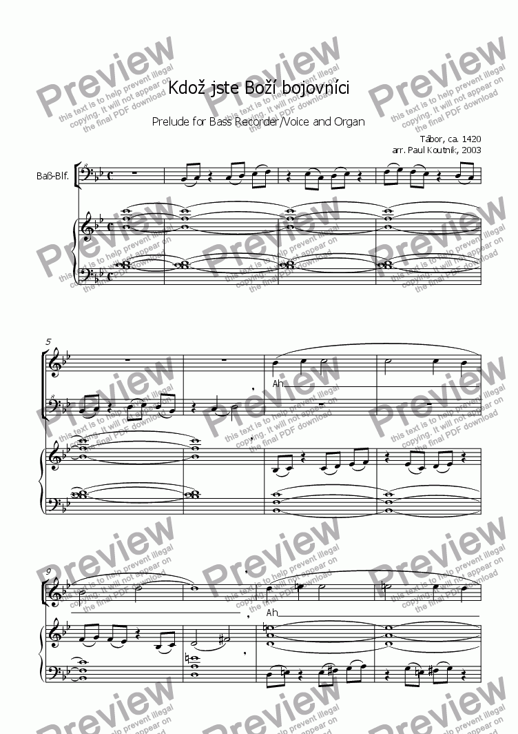 page one of Prelude on Kdoz jste Bozi bojovnici for Bass Recorder/Voice and Organ