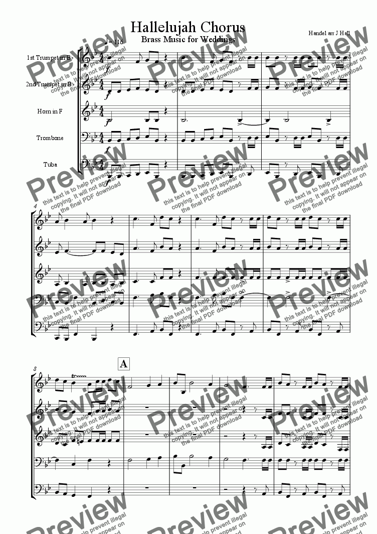 page one of Hallelujah Chorus - Brass Music for Weddings
