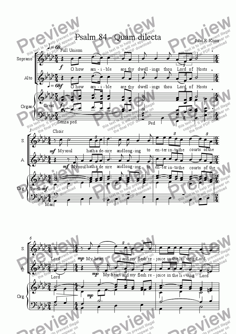 page one of Psalm 84 Quam dilecta