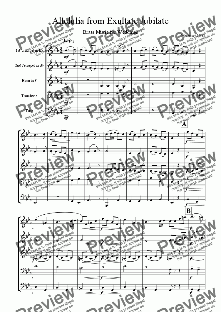 page one of Allelulia from Exultate Jubilate - Brass Music for WeddingsASALTTEXT