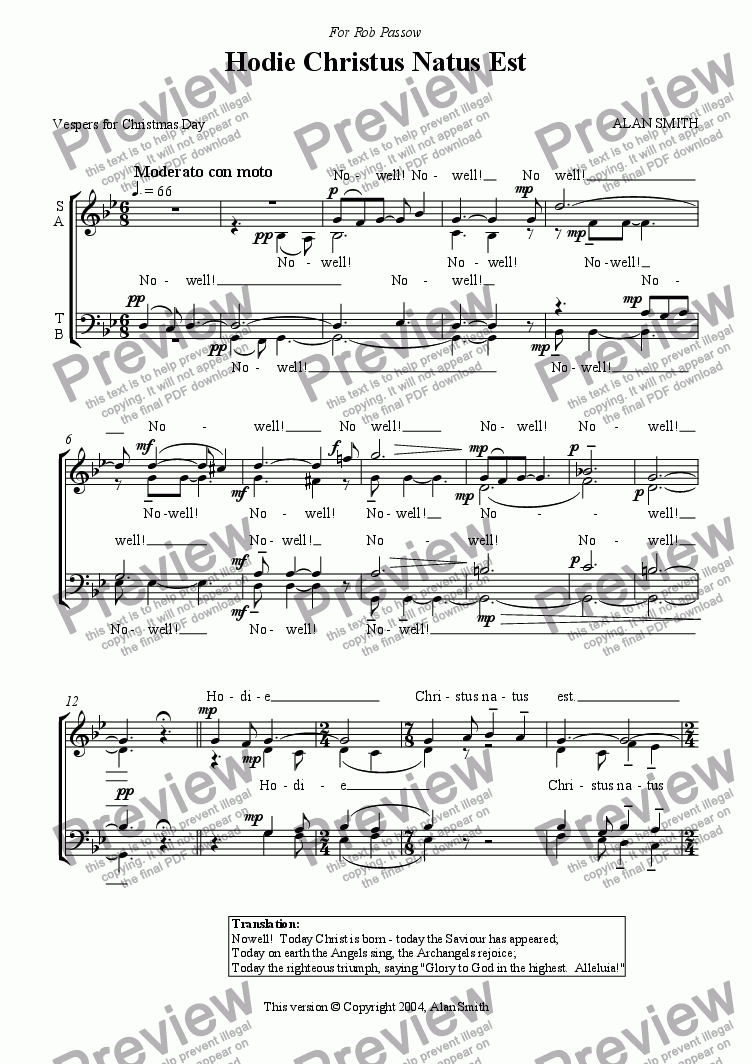 page one of Hodie Christus Natus Est (SATB version)