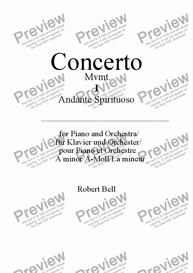 page one of Piano Concerto no.2 in A min: Andante SpirituosoASALTTEXT