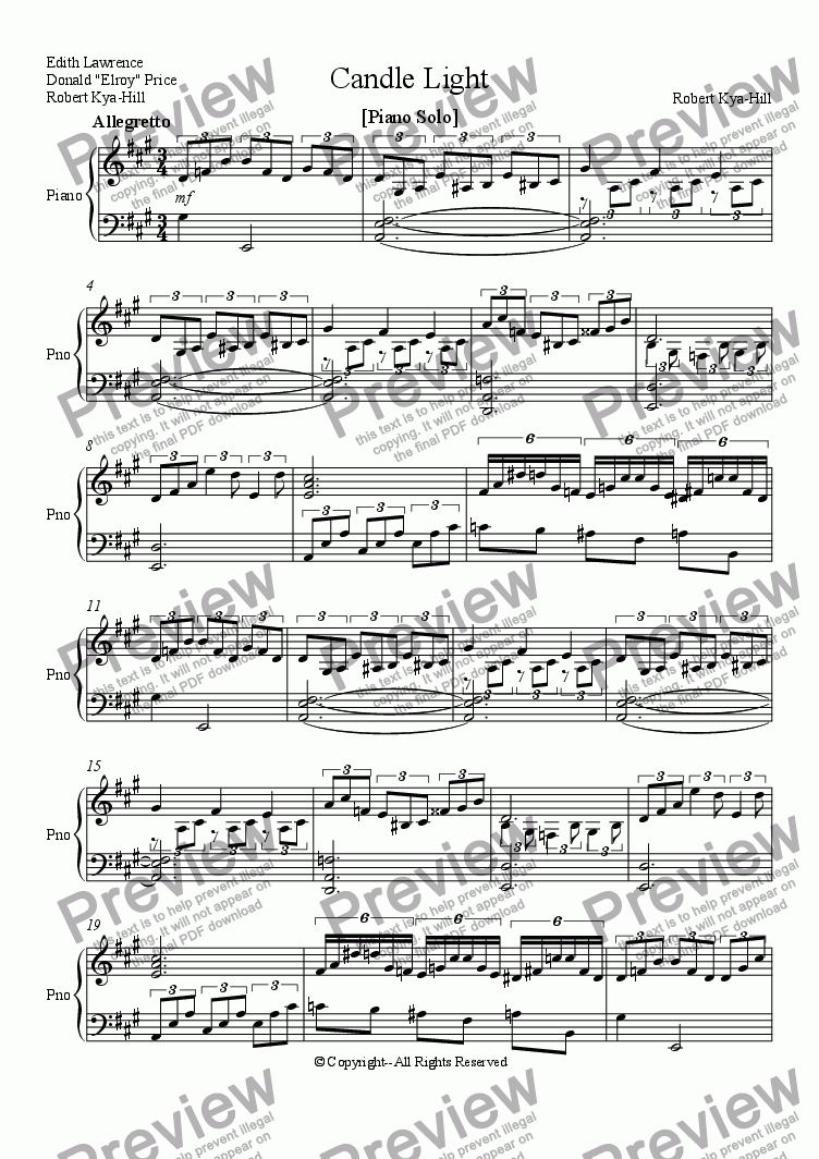 page one of Candle Light [Piano Version]