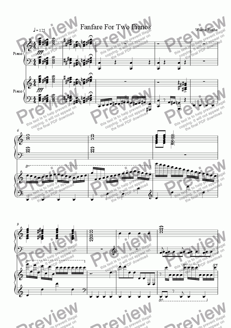 page one of Fanfare For Two Pianos