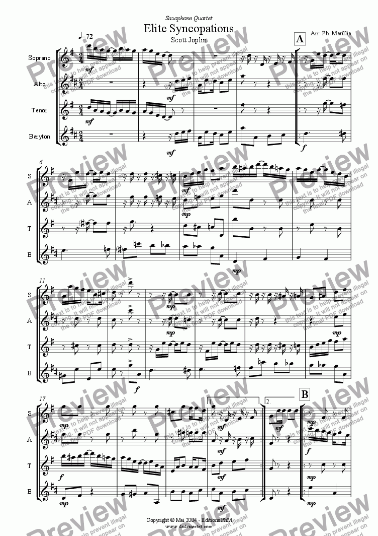 page one of Joplin - Elite Syncopations - Ragtime (Sax Quartet)