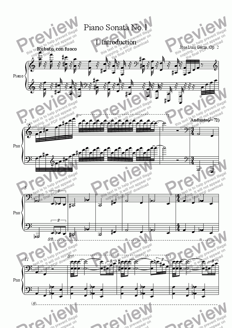 page one of Sonata No.1 for piano solo, mvt. 1ASALTTEXT