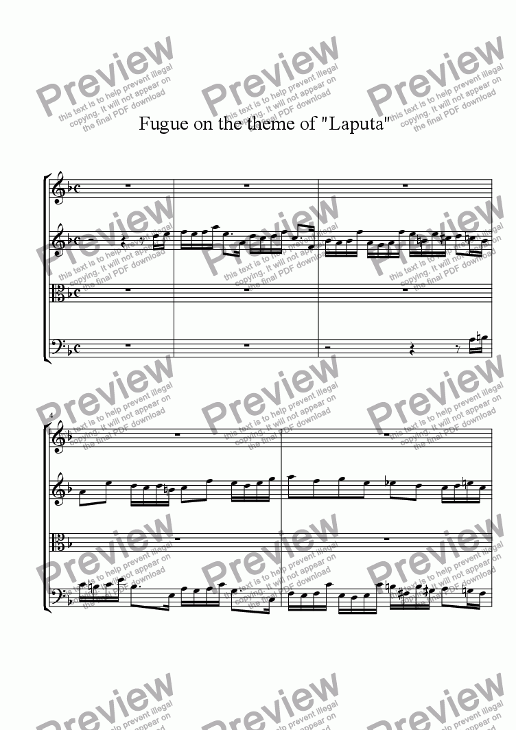 page one of Fugue of the theme of
