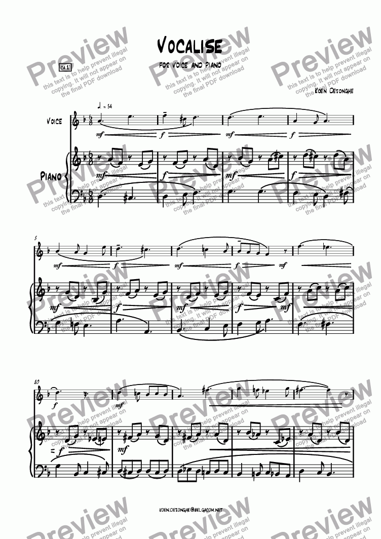 "page one of ""Vocalise"" for Voice and Piano"