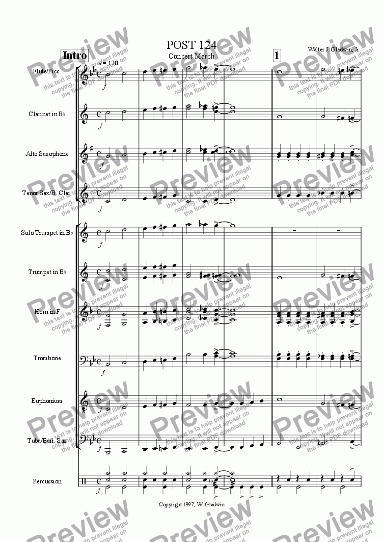 page one of Post 124 Concert March (Revised)
