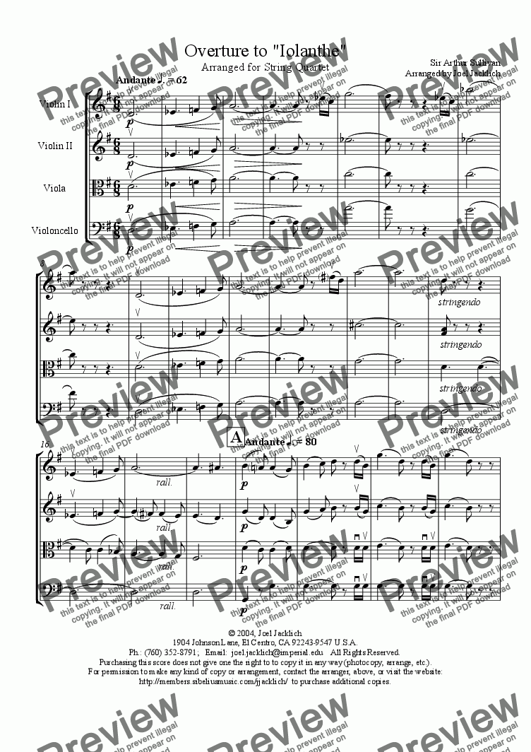 "page one of Overture to ""Iolanthe"" (String Quartet)"