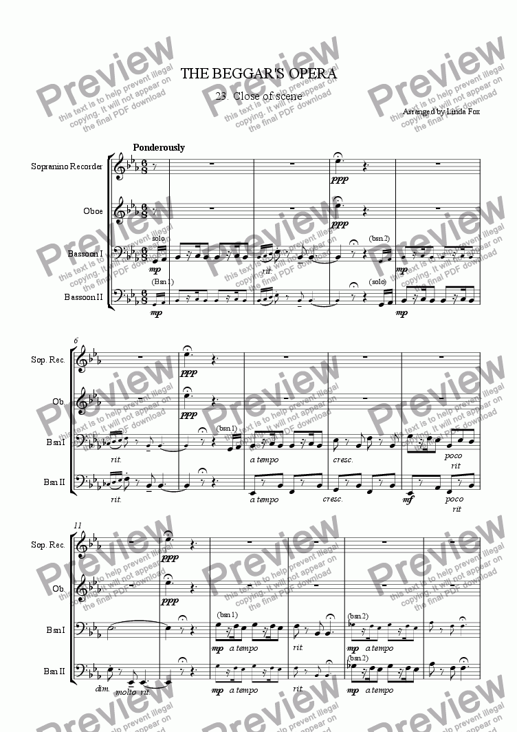 page one of The Beggar's Opera: 23. Scene Change MusicASALTTEXT