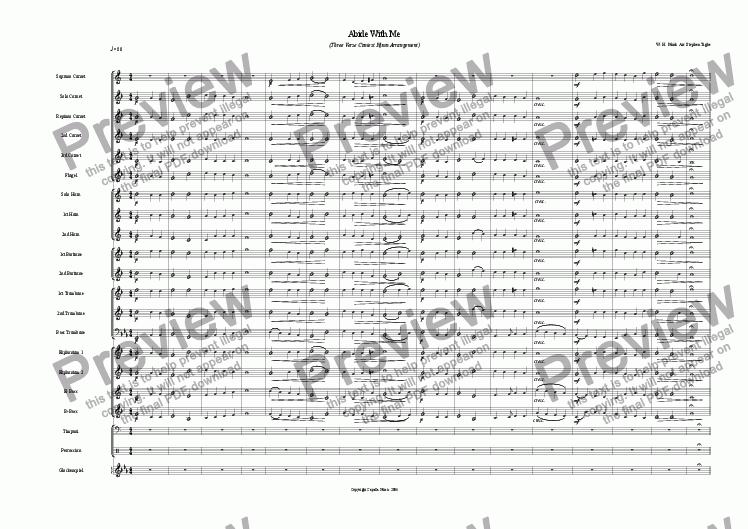 page one of Abide With Me (Brass Band Contest Hymn)