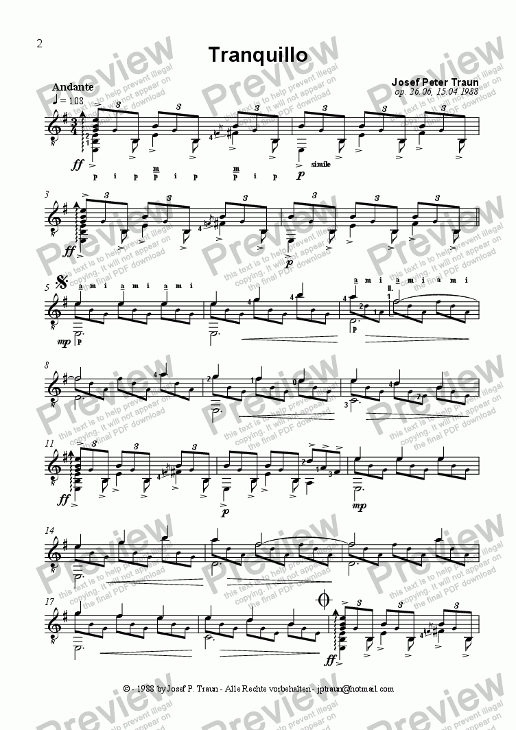 page one of Tranquillo (GS plus TAB)