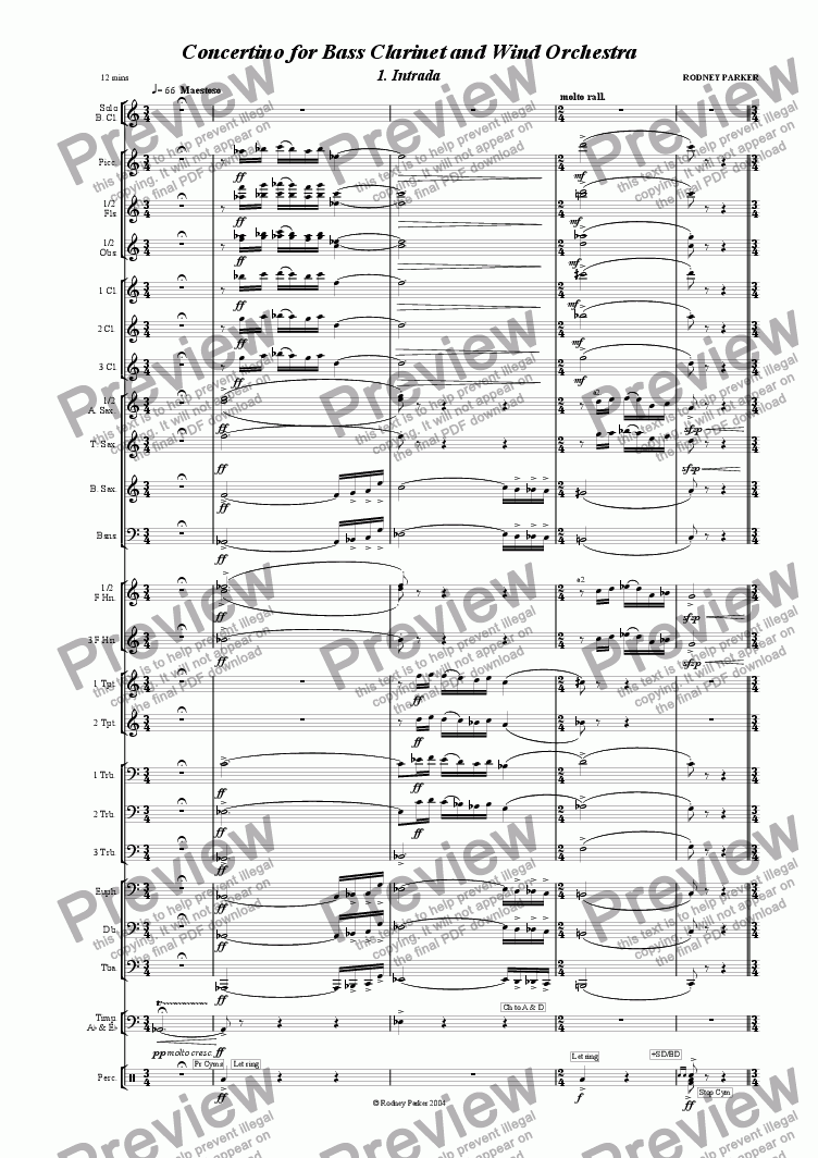 page one of Concertino for Bass Clarinet & Wind OrchestraASALTTEXT