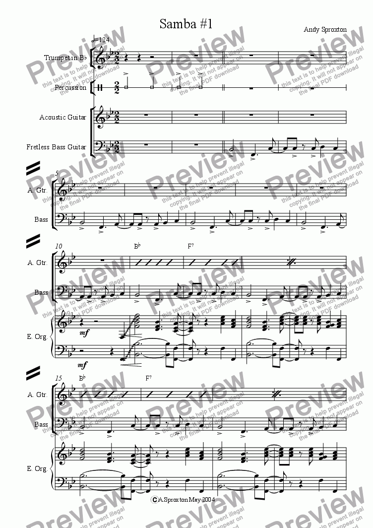 page one of Drum Groove Backing: Samba #1