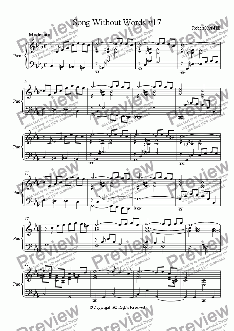 page one of Song Without Words # 17 [Piano]